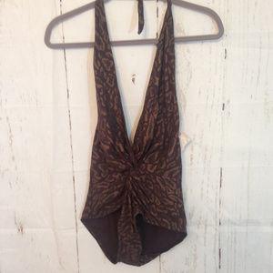 6d5cd7e2634 Karla Colletto. Karla Colletto 12 Brown Geo Print 1-Piece Swimsuit